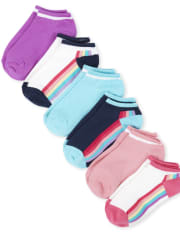 Girls Rainbow Striped Ankle Socks 6-Pack