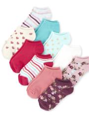 Lot de 10 paires de chaussettes fleuries pour filles