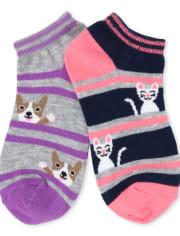 Girls Animal Crew Socks 6-Pack