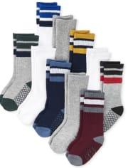 Toddler Boys Striped Crew Socks 10-Pack