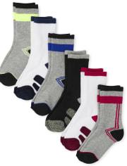 Boys Marled Crew Socks 6-Pack