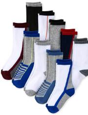 Boys Striped Athletic Crew Socks 10-Pack