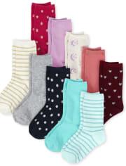 Girls Crew Socks 10-Pack