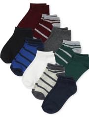 Boys Striped Ankle Socks 10-Pack