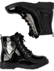 Girls Shakey Heart Lace Up Booties