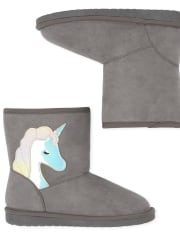 Girls Holographic Unicorn Faux Suede Boots
