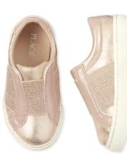 Zapatillas sin cordones con purpurina para niñas pequeñas