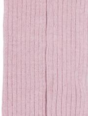 Medias de punto de canalé con purpurina para niñas pequeñas