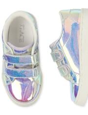 Tenis bajos con brillo holográfico para niñas pequeñas