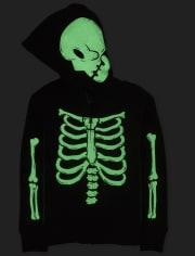 Sudadera con capucha y cremallera con diseño de esqueleto y esqueleto de Halloween familiar a juego para niños unisex