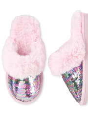 Girls Flip Sequin Slippers