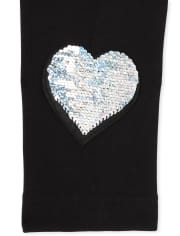 Girls Flip Sequin Heart Fleece Lined Leggings