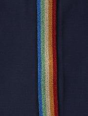 Girls Rainbow Side Stripe Fleece Lined Leggings