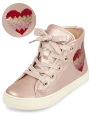 Girls Flip Sequin Heart Hi Top Sneakers