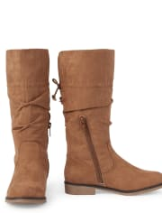 Girls Faux Suede Tall Slouch Boots