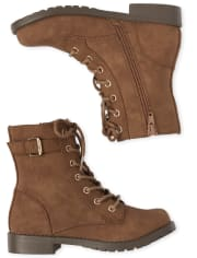 Girls Buckle Lace Up Boots