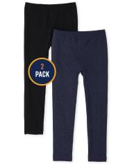 Girls Faux Denim Fleece Lined Leggings 2-Pack