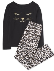 Girls Leopard Cat Pajamas