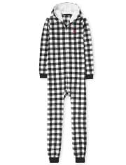 Unisex Adult Matching Family Buffalo Plaid Fleece One Piece Pajamas