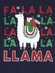 Unisex Adult Matching Family Festive Llama Cotton And Fleece Pajamas