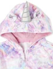 Girls Mommy And Me Unicorn Cloud Fleece Matching One Piece Pajamas