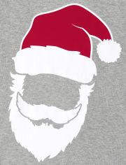 Pijama de algodón de ajuste ceñido a rayas unisex para niños a juego con familia Glow Santa