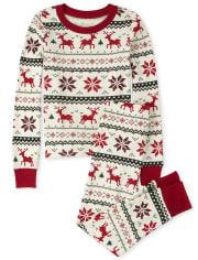 Unisex Kids Matching Family Reindeer Fairisle Snug Fit Cotton Pajamas