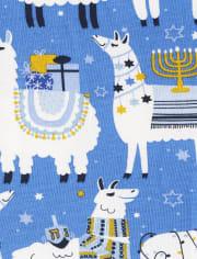 Unisex Kids Matching Family Hanukkah Llama Snug Fit Cotton Pajamas