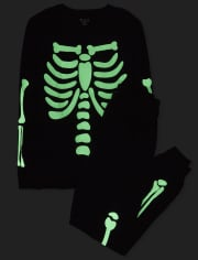 Unisex Adult Matching Family Halloween Glow Candy Skeleton Cotton Pajamas