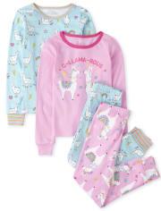 Girls Llama Snug Fit Cotton 4-Piece Pajamas