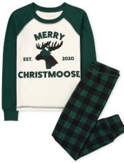 Unisex Kids Matching Family Christmas Moose Snug Fit Cotton Pajamas