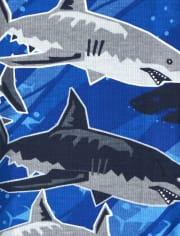 Boys Glow Wake Me Shark Snug Fit Cotton Pajamas