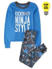 Boys Glow Ninja Style Snug Fit Cotton Pajamas