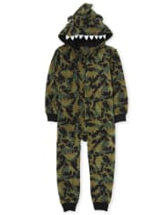 Unisex Kids Matching Family Dino Fleece One Piece Pajamas