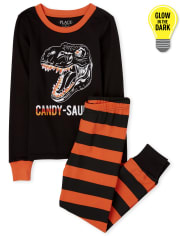 Unisex Kids Matching Family Halloween Glow Candy-Saurus Snug Fit Cotton Pajamas