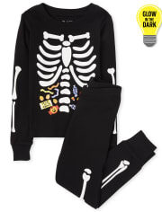 Unisex Kids Matching Family Halloween Glow Candy Skeleton Snug Fit Cotton Pajamas