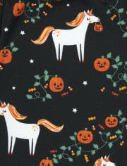Girls Halloween Glow Unicorn Snug Fit Cotton Pajamas