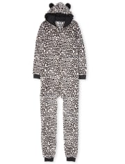 Womens Mommy And Me Leopard Fleece Matching One Piece Pajamas