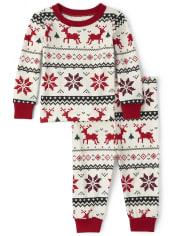 Unisex Baby And Toddler Matching Family Reindeer Fairisle Snug Fit Cotton Pajamas
