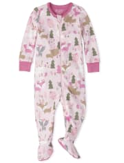 Baby And Toddler Girls Forest Snug Fit Cotton One Piece Pajamas