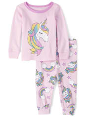Baby And Toddler Girls Rainbow Unicorn Snug Fit Cotton Pajamas