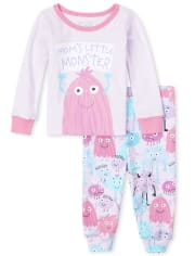 Baby And Toddler Girls Monster Snug Fit Cotton Pajamas