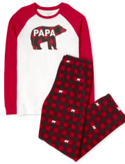 Mens Matching Family Bear Buffalo Plaid Cotton And Fleece Pajamas