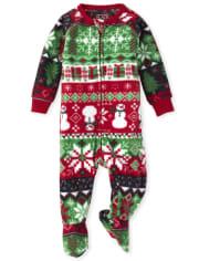 Unisex Baby And Toddler Matching Family Christmas Fairisle Fleece One Piece Pajamas