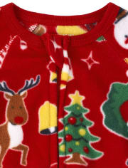Unisex Baby And Toddler Matching Family Christmas Crew Fleece One Piece Pajamas