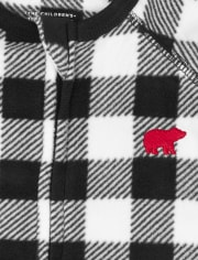 Unisex Baby And Toddler Matching Family Buffalo Plaid Fleece One Piece Pajamas