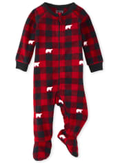 Unisex Baby And Toddler Matching Family Bear Buffalo Plaid Fleece One Piece Pajamas