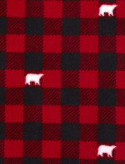 Toddler Girls Matching Family Bear Buffalo Plaid Fleece Nightgown