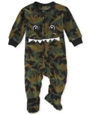 Unisex Baby And Toddler Matching Family Dino Fleece One Piece Pajamas