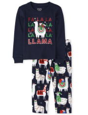 Unisex Baby And Toddler Matching Family Festive Llama Snug Fit Cotton And Fleece Pajamas